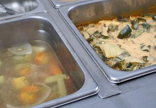 Buffet with Caldo de Pollo and Rajas