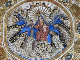 Oaxaca Santo Domingo Ceiling Virgin with Cherubim and Dominicans