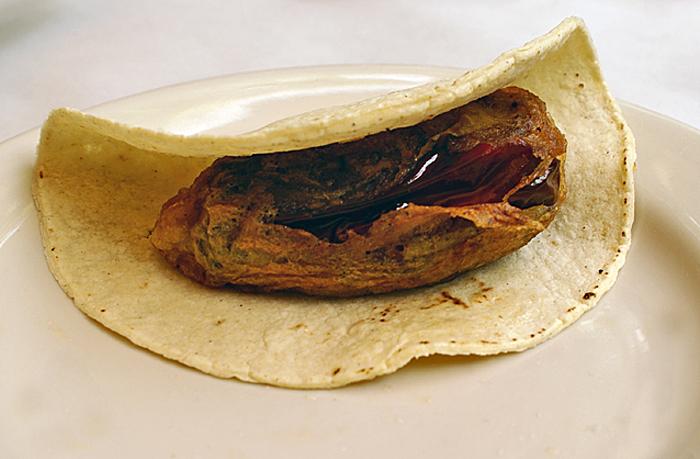 Oaxaca La Teca Taco de Chile Relleno Pasilla Oaxaqueño