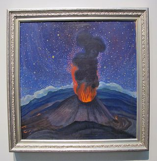 Atl Volcán en la Noche Estrellada 1950 (Paricutín) Oleo y Atl Color sobre Triplay Colección UNAM