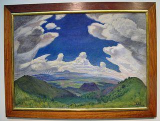 Atl Detalle Nubes sobre el Valle de México 1933 Atl Color sobre Asbestos Museo Nacional de Arte INBA