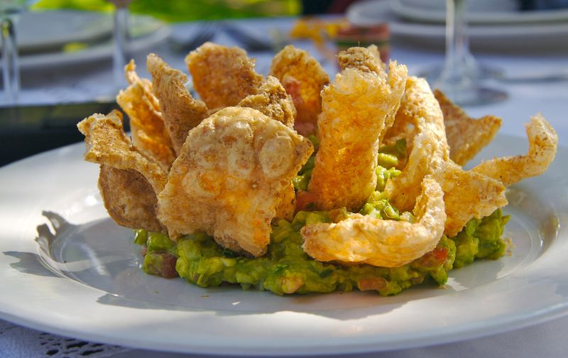 Pork rinds and Guacamole
