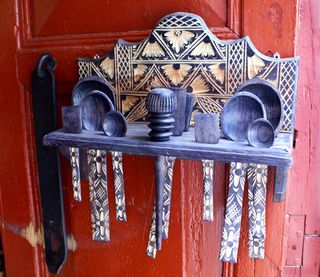 Spoon Rack on Red Door