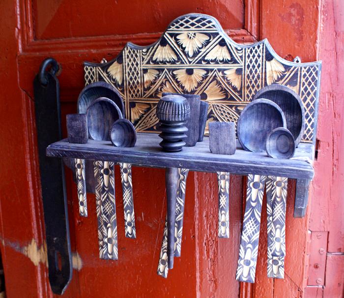 Spoon Rack on Red Door