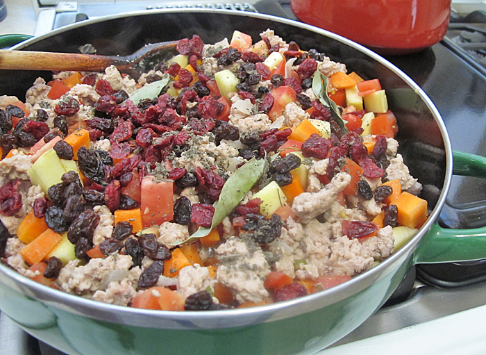 Picadillo All Ingredients in Pot