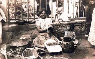 Woman and Child Making Tortillas