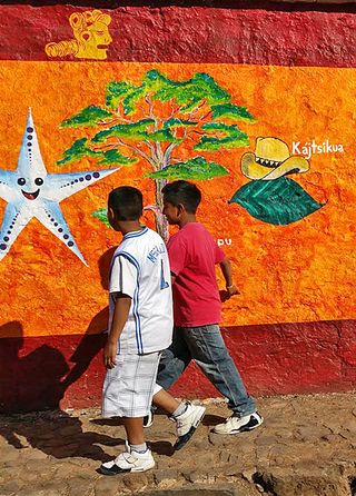 Santa Fe Wall 2 Boys Walking