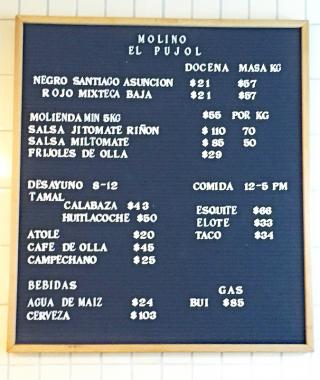 Molino El Pujol Carta