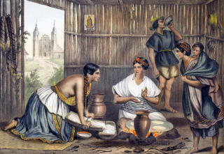 Mexican Kitchen Painting Theubet 1830s 1a