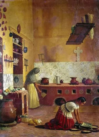 Mexican Kitchen Painting 1850